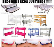 New Quality Modern Metal & Wooden Bed Frames | Bunks Singles Doubles Triple Beds