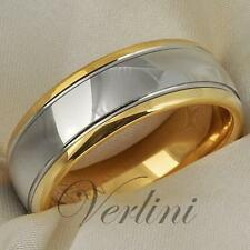 Tungsten Mens Ring 14K Gold Wedding Band 8mm Dome Bridal Jewelry Size 6-13