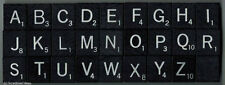 SCRABBLE TILES - Onyx Edition Black / Silver Wood Letters - sold individually