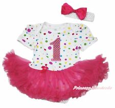 White Rainbow Dot Baby Dress Romper Jumpsuit 1st Birthday Hot Pink Skirt NB-12M