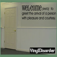 Welcome Verbs to greet the arrival Definitions Vinyl Wall Decal Quotes DFB001