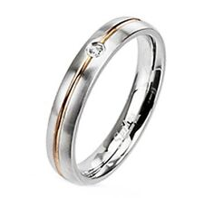 4mm Wedding Engagement Band Stainless Steel Rose Gold IP Striped Ring With CZ
