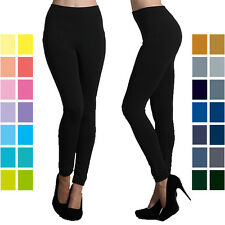 "Womens One Size Full Long Leggings 32"" Basic Solid Plain Stretch Pants SS-32"
