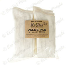 Maggie's Organics Cotton Crew Value Pack Socks White 6 Pairs Size 9-11, 10-13