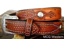Nocona Western Mens Belt Leather Ostrich Overlay Basketweave Studs N2491808