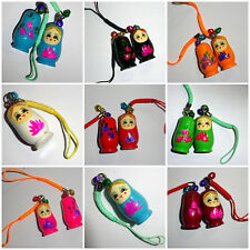 Wooden Russian Doll Phone/Bag Charm - hand painted - various colours