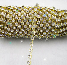 SS6-SS20 Clear glass crystal rhinestone close gold claw cup trims chain applique