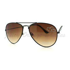 Womens Aviator Sunglasses Rhinestone Hearts Classic Tear Drop Frame