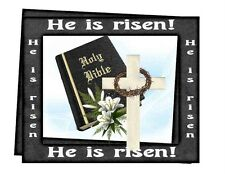 Custom Made T Shirt He Is Risen Bible Jesus Christ Christian Easter Cross Crown