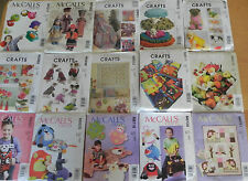 McCall's Craft Sew Patterns, new, uncut, sold individually