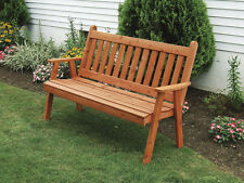 Outdoor Cedar 4 Ft Traditional English Garden Bench *8 STAIN COLORS* Made in USA
