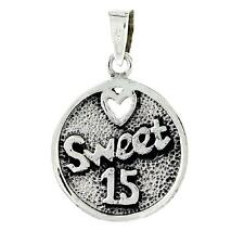 """Sterling Silver Quinceanera Sweet 15 Word Pendant / Charm,18"""" Box Chain  #pa2073"""