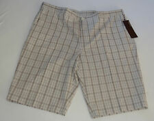 NWT PERRY ELLIS MENS SHORTS  FLAT FRONT BROWN PLAID SANDBAR 100% COTTON MSRP $69