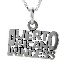 "Sterling Silver ""Puerto Rican"" Princess Word Pendant/Charm,18"" Italian Box Chain"