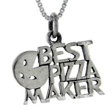 """Sterling Silver The Best Pizza Maker Word Pendant / Charm, 18"""" Box Chain  #pa868"""