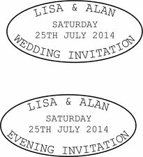 PERSONALISED WEDDING RUBBER STAMPS,WEDDING/EVENING INVITE & FREE PAD! (800500/1)