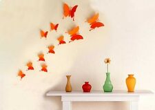 Tapisserie wandstickers déco 3d papillons butterfly wandtatoo Orange