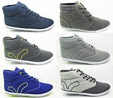 Mens VOI JEANS Canvas Hi Tops Fiery Trainers Ankle Pumps New Blue Grey Size 6-12