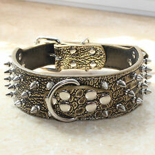 """New 2"""" Wide Spiked&Studded Dog Collars Pitbull Terrier Gold Leather Pet Collars"""