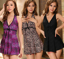 New Arrival!V Neck Plus Size Padded  One Piece Swim Dress Cover  belly Swimsuit