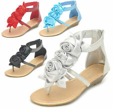 NEW Women's Flower Bow Glitter Ankle Strap Low Wedge Thong Sandals Size 5 to 10