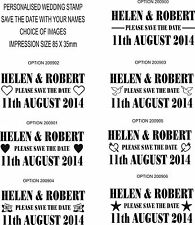 WEDDING STAMP PERSONALISED/BESPOKE, SAVE THE DATE, 85x35mm CHOICE OF IMAGES