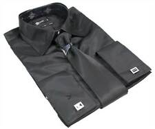 Mens Italian Design Black Silk Satin Finish Double Cuffed Shirt & Tie W Links