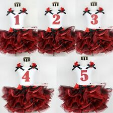 Red Black 8 Layered Pettiskirt Red Sparkle Number Ruffle Red Bow Tank Top 1-8Y
