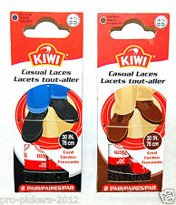 2 New Pair Kiwi Casual Cord Shoe Laces , Choice: Black or Brown / 30in or 36in