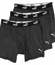 PUMA Men Stretch Cotton Boxer Briefs Underwear, Dark Gray NWT 3 Pack