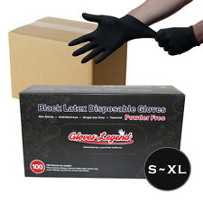 1000 Black Latex Disposable Tattoos Piercing Industrial Gloves - Powder Free