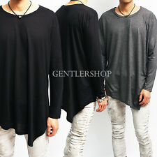 Avant-garde Mens Fashion Unbalanced Oblique Hem Long Sleeve T-shirt, GENTLERSHOP