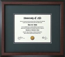 Walnut Wood Frame with Green and black mats for Diploma Certificate Document