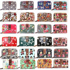 Ladies Women Oilcloth Flower Owl Polka Dot Star Purse and Wallet