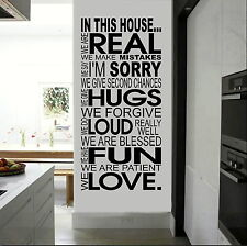 In this House...We are real Vinyl for Wall, Window, Art, Decal, Mural, Sticker