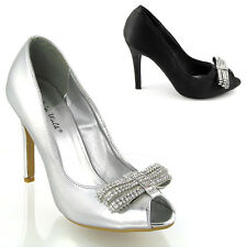 NEW WOMENS OPEN TOE LADIES DIAMANTE PROM BRIDAL WEDDING COURT SHOES SIZE 3-8