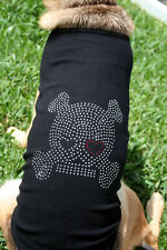 "Dog Tee T-Shirt Tank ""SKULL WITH EYE PATCH"" Custom USA Rhinestones Ribbed Cotton"