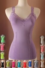 Womens SEXY XS S M L Lace Trim Spaghetti Strap Tight Stretch Cami TANK TOP Shirt