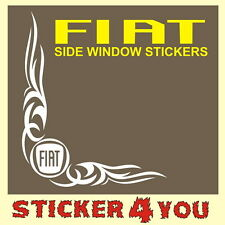 x2 Fiat Side Window Stickers Van Ducato Scudo Doblo Vinyl Tuning Self Adhesive