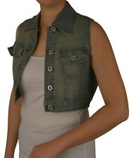 BNWT: WOMENS CROPPED DENIM VEST  SIZES:S-XL  V13/V34