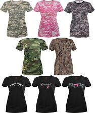 Womens Camouflage Military Long Length Casual Lounging T-Shirt