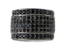 Mens BLACK BAND OF ICE Micropave A Class Black Chrome HipHop Bling