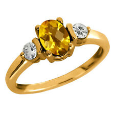 0.98 Ct Checkerboard Citrine and Topaz Gold Plated 925 Silver Ring