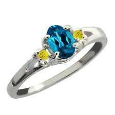 0.59 Ct London Oval Topaz and Canary Diamond 925 Silver Ring