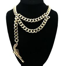 NEW CELEBRITY STYLE DOUBLE LINK CHAIN WITH GUN PENDANT FASHION NECKLACE - NYNK7