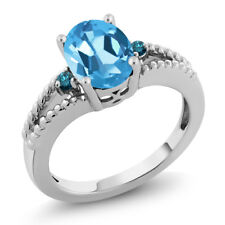 2.31 Ct Oval Blue Topaz & Blue Diamond 925 Silver Ring