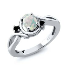 0.66 Ct Oval Cabochon White Simulated Opal and Black Diamond 925 Silver Ring