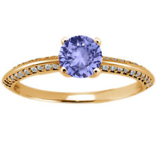 1.04 Ct Round Blue Tanzanite 925 Yellow Gold Plated Silver Ring