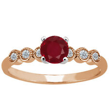 1.15 Ct Round Red Ruby White Diamond 925 Rose Gold Plated Silver Ring