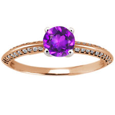 0.79 Ct Round Purple Amethyst Diamond 925 Rose Gold Plated Silver Ring